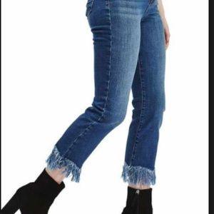 """Top shop Moto """"Dree"""" Fringe Hem Cropped Jeans"""
